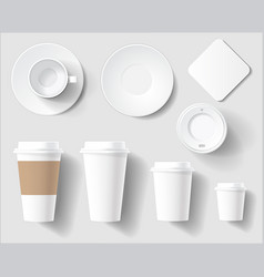 set of empty white coffee brand cups mockup vector image