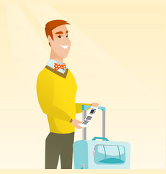 Caucasian businessman showing luggage tag vector