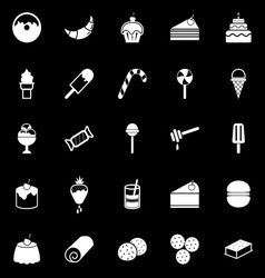Dessert icons on black background vector