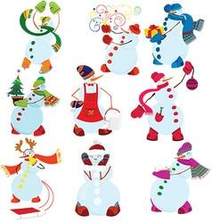 Cartoon snowman set vector