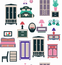 Vintage bedroom set furniture vector
