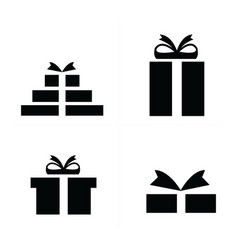 4 style set black gift icons vector