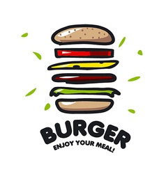 logo burger for fast food vector image