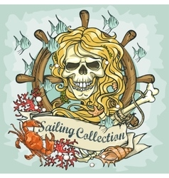 Mermaid skull logo design - sailing collection vector