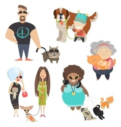 Cute pets with their owners vector