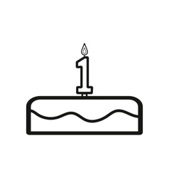 Cake with candles in the form of number 1 icon vector