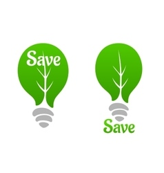 Green light bulb with leaf icon vector