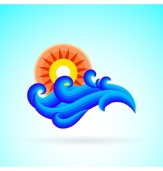 Sun wave ocean illlustration vector