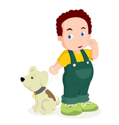 A Boy With His Dog vector image