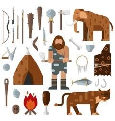 Life stone age caveman cave bonfire mammoth bone vector