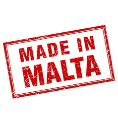 Malta red square grunge made in stamp vector