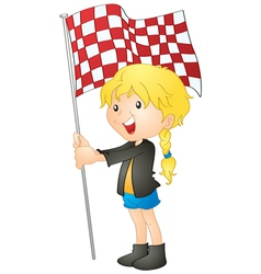 A girl holding flag vector