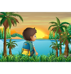 A boy with a bag watching the sunset vector image vector image