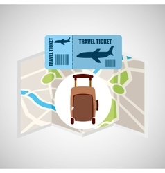 Airline ticket map travel fashion suitcase vector