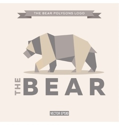 Bear logo origami with effects polygon and flat vector