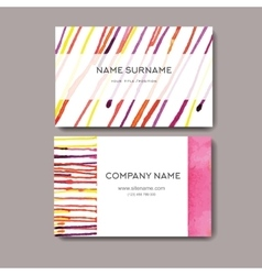 Business cards with watercolor background Design vector image vector image