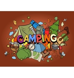 Camping design colorful set vector
