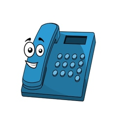 Cartoon blue landline telephone vector image vector image