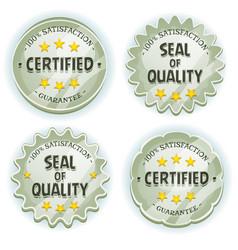 Cartoon silver premium quality seals vector