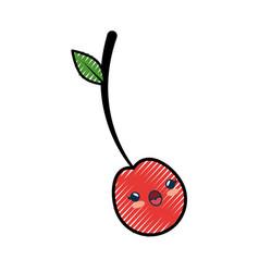 Cherry cartoon smiley vector
