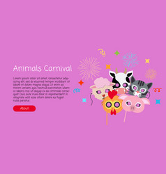 childish animal masks cock pig cow sheep cat vector image