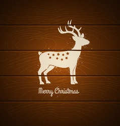 deer on wooden background vector image