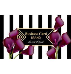 elegant luxury business card with calla flowers vector image vector image