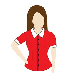 Female shirt template with short sleeves vector