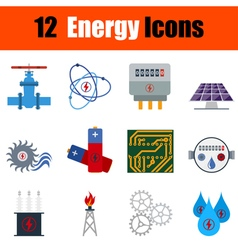 Flat design energy icon set vector image vector image