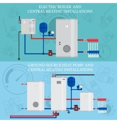 Gas boiler and central heating installations vector