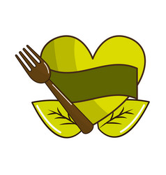 Green heart with ribbon fork and leaves vector
