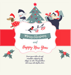 greeting card with holiday elements and characters vector image vector image