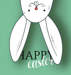 Happy easter Rabbit looks and greeting calligraphy vector image vector image