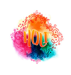 Holi holiday greeting logo vector