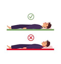 incorrect correct back sleeping man posture vector image
