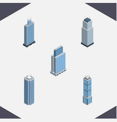 Isometric construction set of urban business vector