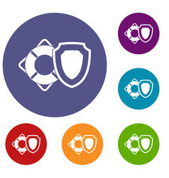 Lifebuoy and safety shield icons set vector