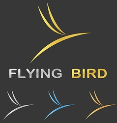 Metallic stylized flying bird logo design vector