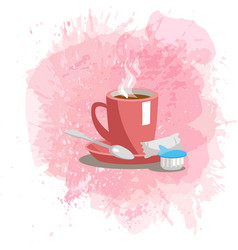 pink cup with coffee drink on a abstract vector image vector image