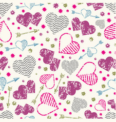 romantic seamless pattern with grunge hearts and vector image