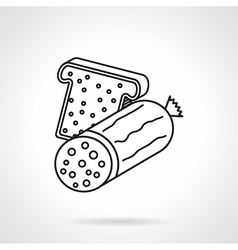 Sausage sandwich black line icon vector