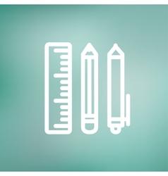 School supplies thin line icon vector image