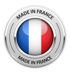 Silver medal Made in France with flag vector image vector image