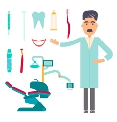 Stomatologist Dental care flat decorative icons vector image