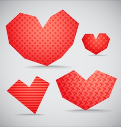 Textured valentine hearts collection vector