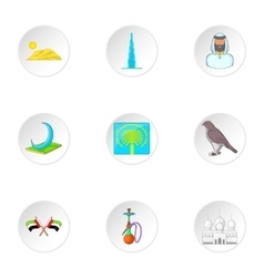 Tourism in uae icons set cartoon style vector