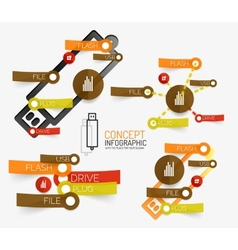 usb flash infographic with keywords vector image