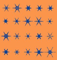 vintage snowflake set 20 original snow vector image vector image