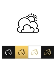 Weather symbol or sun and clouds outline vector image