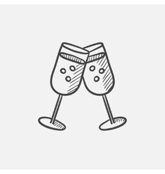 Two glasses with champaign sketch icon vector